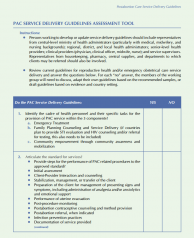 PAC Service Delivery Guidelines Assessment Tool